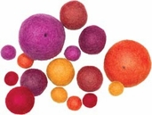 Felted 100% Wool - Ball Assortment - Warm 16pc