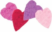 Felted 100% Wool Embellishments - Beaded Hearts