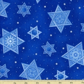 Festival of Lights Star of David Cotton Fabric - Blue