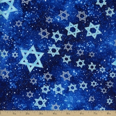 Festival Of Lights Star Toss Cotton Fabric - Blue