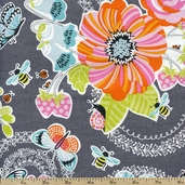 Field Day Large Floral Cotton Fabric - Grey