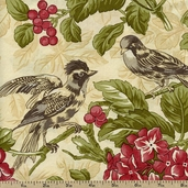Field Notes Floral Birds Cotton Fabric - Cream 2711-11