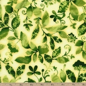 Fiori Leaves Cotton Fabric - Bright ETJ-11557-195 BRIGHT - Clearance