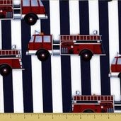 Fire Station Cotton Fabric - Engine Stripe - Red