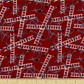 Fire Station Cotton Fabric - Hoses and Ladders - Red