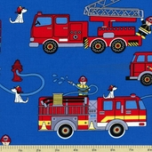 Fire Trucks Cotton Fabric - Blue