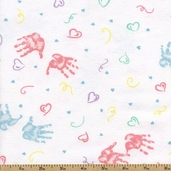 First Impressions Hands Flannel Fabric - White