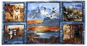 First Light Cotton Fabric - Duck Hunt Panel - Blue