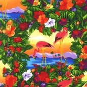 Flamingo Paradise Cotton Fabric - Tropical