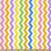 Flamingo Road Chevron Cotton Fabric - Rainbow