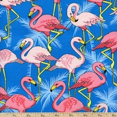 Flamingo Road Packed Flamingos Cotton Fabric - Blue