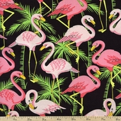 Flamingo Road Packed Flamingos Cotton Fabric - Pink