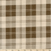 Flannel Elements Double Stripe Plaid Flannel Fabric - Beige