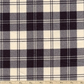Flannel Elements Double Stripe Plaid Flannel Fabric - Cream