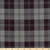 Flannel Elements Double Stripe Plaid Flannel Fabric - Grey