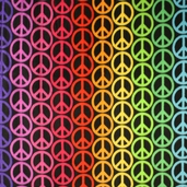 Fleece Prints Peace Signs Polyester Fabric - Multi Color F4747-Z