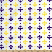 Fleur De Lis II Regal Motif Cotton Fabric - White