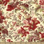 Fleur Rouge Cotton Fabric - Cream CF7001-1