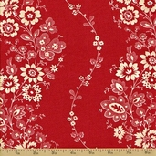 Fleur Rouge Cotton Fabric -Espalier Rouge