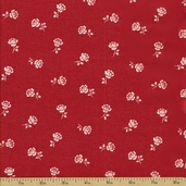 Fleur Rouge Cotton Fabric - Rose Boutaineer Rouge