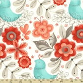 Flirt Cotton Fabric - Large Floral - Diamond White 17701-13