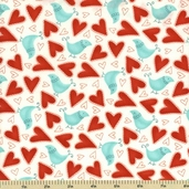 Flirt Cotton Fabric - Love Birds - Diamond White 17702-13