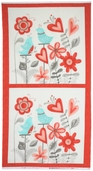 Flirt Cotton Fabric - Love Birds Panel - Diamond White 17700-12