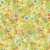 Flora Cotton Fabric - Sunflower Flower Bed - Clearance