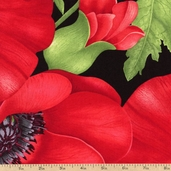 Flora Large Magnolia Cotton Fabric - Red C1049-RED