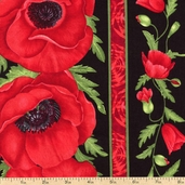 Flora Magnolia Stripe Cotton Fabric - Red C1052-RED