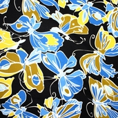 Floral Fusion Cotton Fabric - Black - Clearance