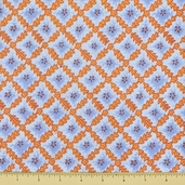 Floral Tile Cotton Fabric -Blue