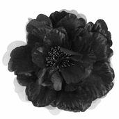 Flower Clip Pin - Medium - Black