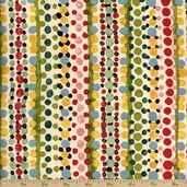 Flower Drops Dot Stripe Cotton Fabric - Ecru
