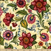 Flower Drops Floral Cotton Fabric - Ecru
