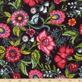 Flower Drops Packed Floral Cotton Fabric - Black