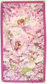 Flower Fairies Cotton Fabric Panel - Pink
