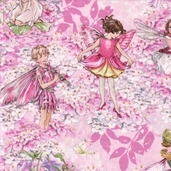 Flower Fairies Cotton Fabric - Pink