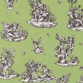 Flower Fairies Cotton Fabric -Toile - apple
