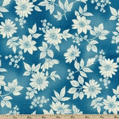 Flower Shop Cotton Fabric - Aqua EKJ-11286-70 AQUA