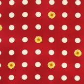 Flower Shop Cotton Fabric - Red