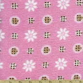 Flowers and Dots Fleece Fabric - Pink DT-9721-9M
