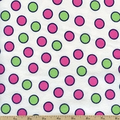 Fluffy Jungle Dots Flannel Cotton Fabric - White R38-8513-0214