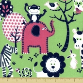 Fluffy Jungle Flannel Cotton Fabric Green R38-8994-0214