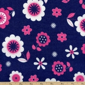 Fluffy Jungle Floral Flannel Cotton Fabric - Blue R38-8511-0210 - CLEARANCE