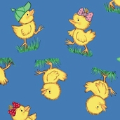 Flurr Prints: Duckling Blue from Baum Textile Mills
