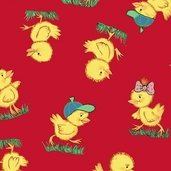 Flurr Prints: Duckling Red from Baum Textile Mills