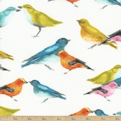 Flutter Birdies Cotton Fabric - White