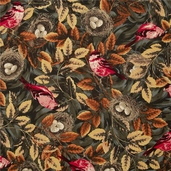 Flutter Birds & Nests Cotton Fabric - Brown