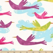 Fly Away Birds Cotton Fabric - Sunrise - Clearance